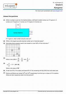 grade 6 kangaroo printable worksheets online practice online tests and problems edugain usa