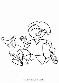 ausmalbilder junge l 228 uft mit hund tiere zum ausmalen