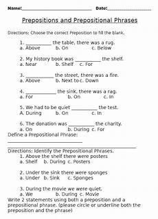 prepositions and prepositional phrases worksheet pdf