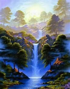 13 Lukisan Pemandangan Alam Air Terjun Gambar Lukisan