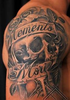 mementomori with skull and roses on arm