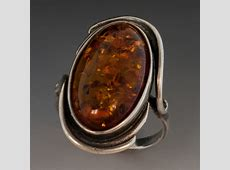 Sterling Silver Ring w/Large Amber