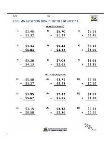 addition and subtraction of money worksheets for grade 3 10558 math addition worksheet collection 4th grade