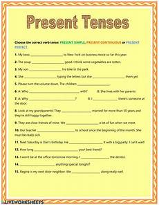 worksheets for 18166 present tenses interactive worksheet