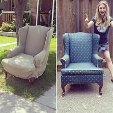 how to reupholster a wing back chair by confessions of a refashionista