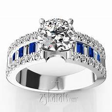 engagement ring with sapphire and diamond baguettes 1 25 ct t w 25karats