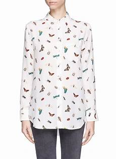 lyst equipment reese insect print silk shirt