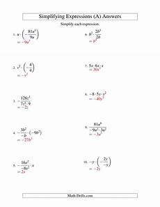 multiplication expressions worksheet 4394 simplifying algebraic expressions with one variable and three terms multiplication and division