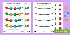 patterns eyfs worksheets 78 repeating pattern bead threading worksheet worksheet