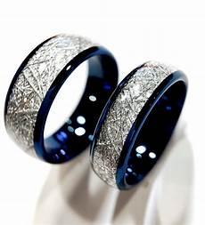 blue meteorite inlay tungsten wedding bands matching