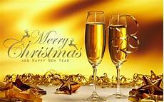 merry christmas happy new years two glasses with chagne gold star hd wallpaper for mobile