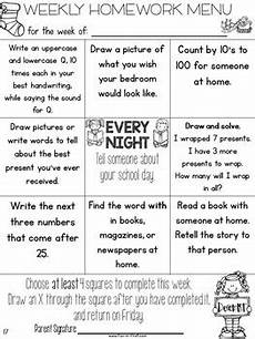 homework menus for the entire year editable kindergarten by jodi southard