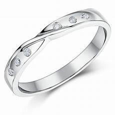 3mm 9ct white gold diamond twist wedding ring band