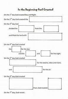 worshiping with children days of creation fill in the blank worksheet bible study lessons