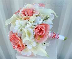 coral rose calla wedding bouquet in bloom