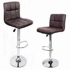 2pc bar stool pu leather barstool swivel hydraulic brown