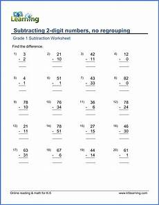 1st grade math worksheet subtraction with regrouping grade 1 subtraction worksheet on subtracting 2 digit