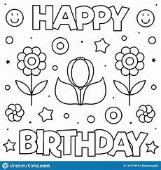 happy birthday coloring page black and white vector
