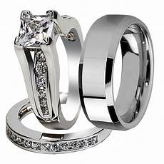 3 pcs his stainless steel couple wedding engagement ring band ebay