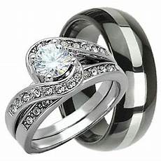 his hers 3 pcs womens sterling silver mens tungsten wedding rings bridal