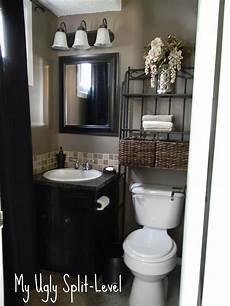 my ugly split level the back bathroom