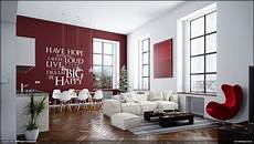 red white living room wall decal interior design ideas