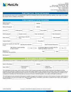 fillable online life insurance claim form metlife fax