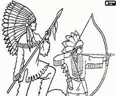 Ausmalbilder Indianer Mit Pfeil Und Bogen Ausmalbilder Zwei Indianer Mit Speer Und Bogen Zum Ausdrucken