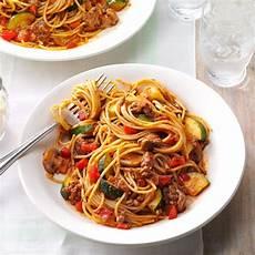 hearty garden spaghetti recipe taste of home