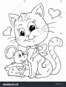 friends mouse cat illustration coloring page stock vector