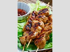 skewered korean chicken and green onions image