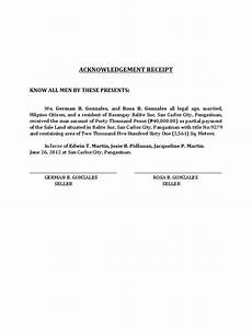 acknowledgement receipt of documents template acknowledgement receipt