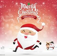 merry christmas santa claus cartoon running snow background v stock vector art more images