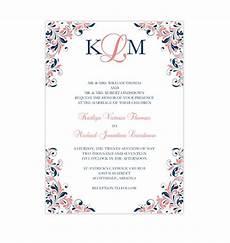 kaitlyn wedding invitation coral navy wedding template shop