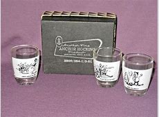 Vintage Anchor Hocking Whimsical Novelty Shot Glasses Set