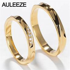 auleeze couple ring real diamond jewelry simple classic wedding band 18k yellow gold