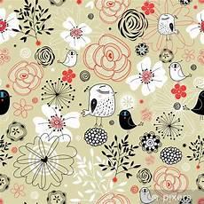 Papier Peint Motif Floral Avec Des Oiseaux Pixers