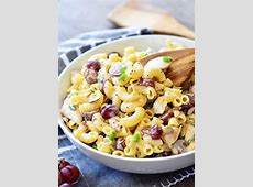 roast chicken  pasta  and grape salad_image