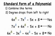 standard form of a polynomial definition arithmetic with polynomials and rational expressions high school algebra common core math