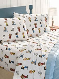 cotton flannel sheets charlie brown peanuts gang