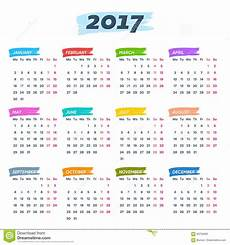 calendar 2017 weeks start from monday stock vector