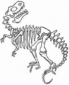 skeleton of dinosaur coloring page