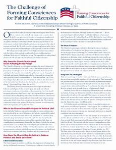 the challenge of forming consciences for faithful citizenship a us