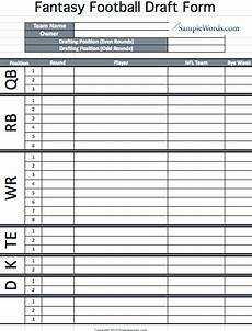 nfl fantasy football roster sheet printable fantasy football draft form fantasy football football draft party and football season