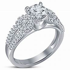 14k white gold plated 925 sterling silver bridal wedding