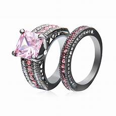 rn2995 turkish engagement wedding couple rings with pink stone black gold filled rings 2016
