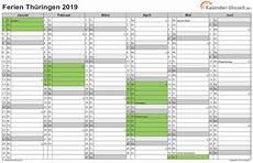 ferien thüringen 2019 kalender excel kalender 2020 kostenlos