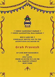 invitation card format for griha pravesh grah pravesh colors invitation invites card in 2019
