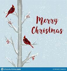 merry christmas card with cardinal bird in winter forest drawn illustration christmas
