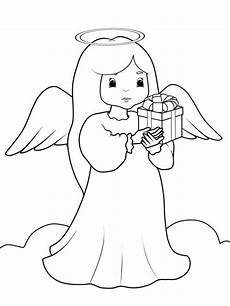 kostenlose malvorlage weihnachtsengel engel mit geschenk